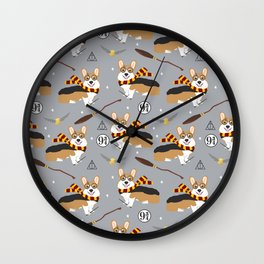 corgi wizard welsh corgis potter wizarding school pattern Wall Clock