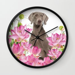 Weimaraner Lotos Flowers Wall Clock