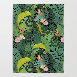 Chameleons And Salamanders In The Jungle Pattern Poster