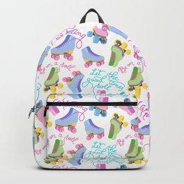 Roller Skates Pattern (White Background) Backpack