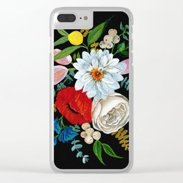 Colorful Bouquet - Gouache on Black Clear iPhone Case