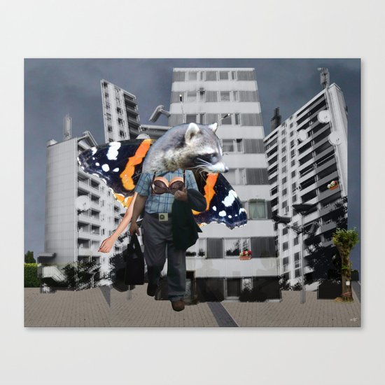 The modern fairy tale of the Raccoon - Collage Canvas Print