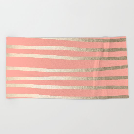 Simply Drawn Stripes in White Gold Sands and Salmon Pink Beach Towel