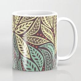 Polynesian Tribal Tattoo Green and Yellow Floral Retro Design Coffee Mug