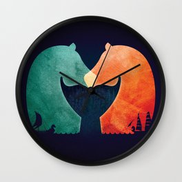 A Tail of Two Horses Wall Clock