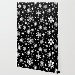 Festive Black and White Snowflake Pattern Wallpaper