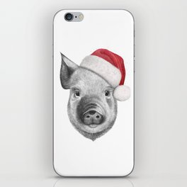 Christmas pig iPhone Skin