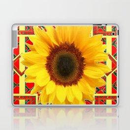 WESTERN RED ART DECO YELLOW SUNFLOWER ART Laptop & iPad Skin