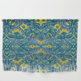 Blue Vines and Folk Art Flowers Pattern Wall Hanging