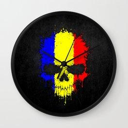 Flag of Romania on a Chaotic Splatter Skull Wall Clock