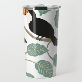 Toucan birds and palm leaves in the jungle Travel Mug