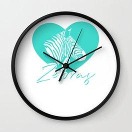 Cute Love Zebras Spirit Animal Heart Zebra Stripes Gift Wall Clock