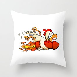 chicken on the rocket. Throw Pillow