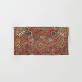 Persian Medallion Rug IV // 16th Century Distressed Red Green Blue Flowery Colorful Ornate Pattern Hand & Bath Towel
