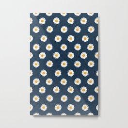 daisies - navy blue Metal Print