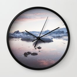 Sunset over Glacier Lagoon - Landscape and Nature Photography Wall Clock