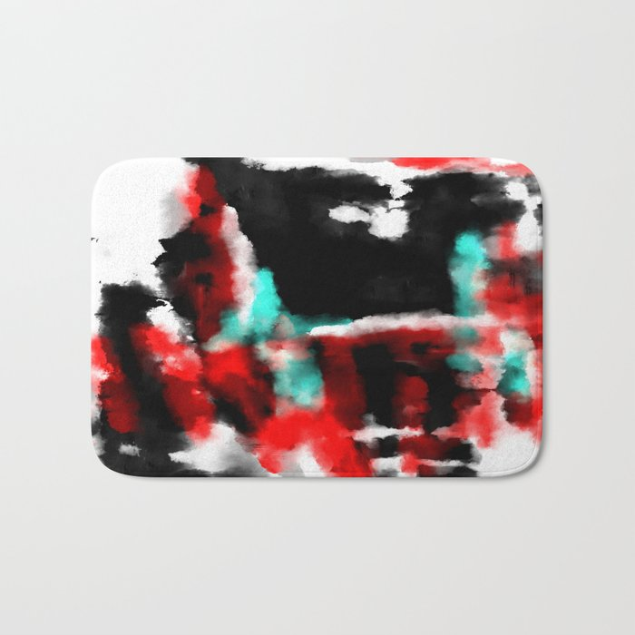 Lukewarm - Abstract, original painting in red, blue, black and white Bath Mat