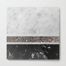 White and Black Marble Silver Glitter Stripe Glam #1 #minimal #decor #art #society6 Metal Print