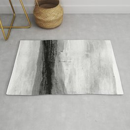 Grey and White Minimalist Abstract Landscape Rug