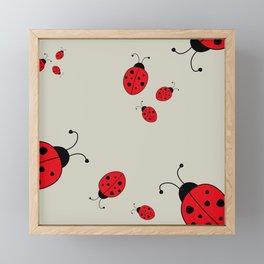 Ladybugs-Beige+Red Framed Mini Art Print