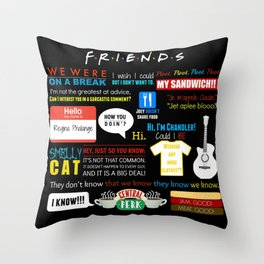 Friends Quote Collage Throw Pillow