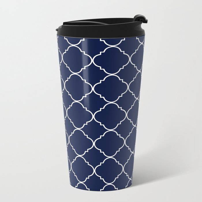 Indigo Navy Blue Moroccan Metal Travel Mug