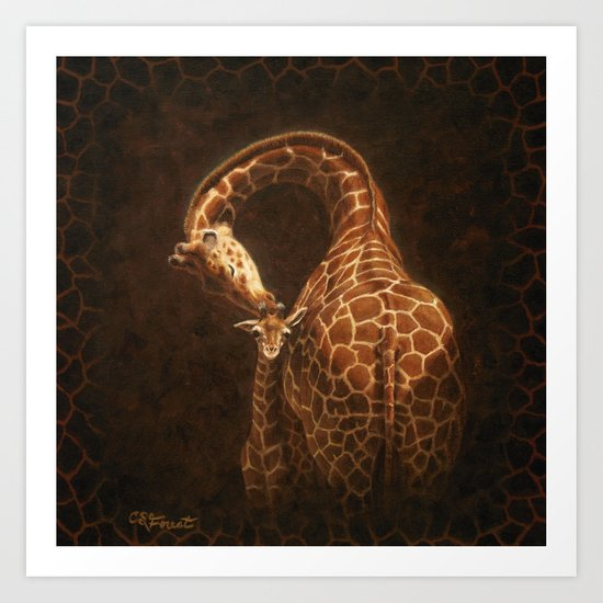 Reticulated Giraffe Mother and Baby Art Print