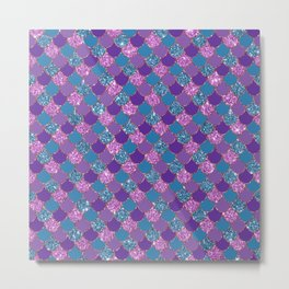 Pink Purple Blue Mermaid Scales Glitter Colorful Metal Print