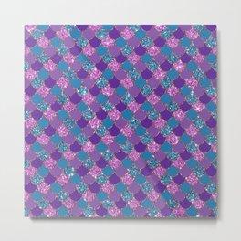 Pink Purple Blue Mermaid Scales Glitter Colorful Metal Print