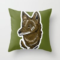 coyote Throw Pillows featuring Coyote by Sergio Campos