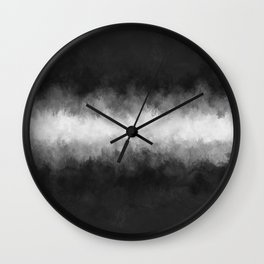 Dark Charcoal and White Abstract Wall Clock