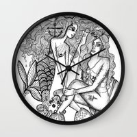 mermaids Wall Clocks featuring Mermaids by Christina Dedic