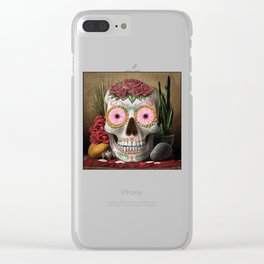 Flora - Sugar Skull with Cactus, Red Roses, Avocado and Papaya Clear iPhone Case