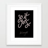 kurt vonnegut Framed Art Prints featuring so it goes - kurt vonnegut by Shaina Anderson