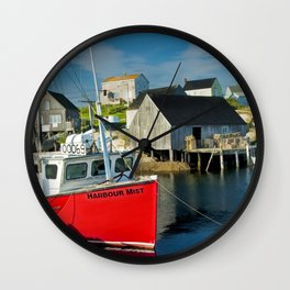 The Boat Harbour Mist in Peggy's Cove Wall Clock