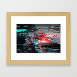 Glitch background. Computer screen error. Framed Art Print