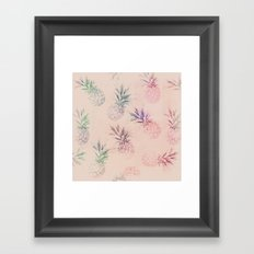 Soft Pastel Pineapple Pattern Framed Art Print