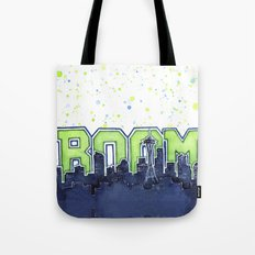 Seattle Legion of Boom Space Needle Skyline Watercolor Tote Bag