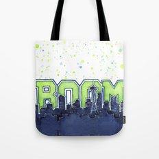 Seattle Legion of Boom Space Needle Skyline Watercolor Tote Bag