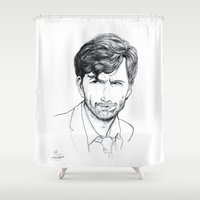 david tennant Shower Curtains featuring David Tennant as Broadchurch's Alec Hardy (or Gracepoint's Emmett Carver) Etching by ieIndigoEast