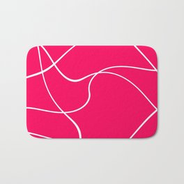 """Abstract lines"" - White on fuchsia Badematte"