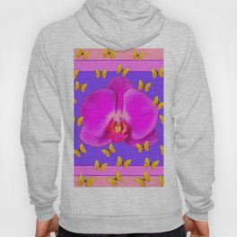 Yellow Butterflies Purple  Moth Orchid Coral Art Hoody