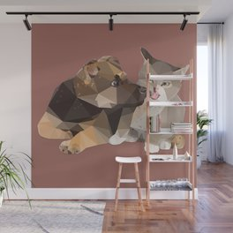 Low Poly German Shepard Puppy and Cat Wall Mural