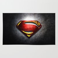 man of steel Area & Throw Rugs featuring Man of Steel by bimorecreative