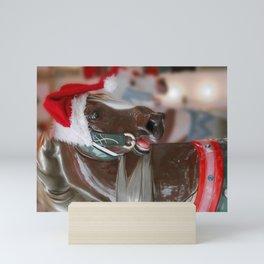 Santa Horse 6 - Retro Mini Art Print
