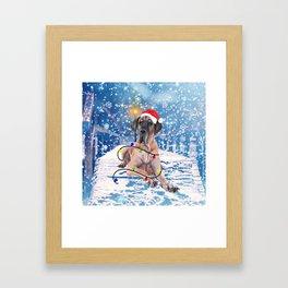 Great Dane Holidays Christmas Snow Framed Art Print
