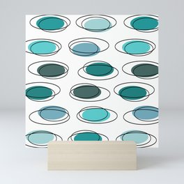 Mid Century Modern Ovals Scribbles Turquoise Mini Art Print