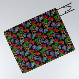 Jamaican Flowers and Fruits Tropical Pattern Picnic Blanket