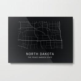North Dakota State Road Map Metal Print