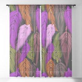 Watercolor Macrame Feather Toss in Black + Boho Purple Orange Sheer Curtain